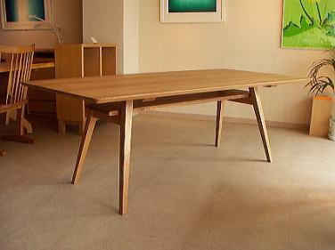 棚付き角テーパー脚テーブル