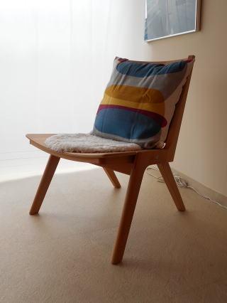 木製折り畳みイージーチェアとクッション