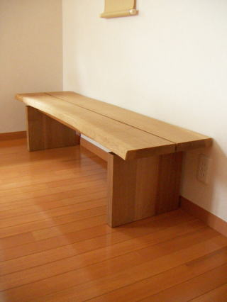 ナラ材の茶室ベンチ