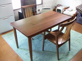 ウォルナット材テーブルセット