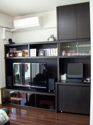 パソコンデスク付きAVリビングボード