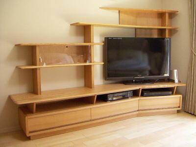 ブーメラン型TVリビング 正面 オーダー家具