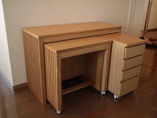 伸長式テーブルと引出をテーブルに収納する所